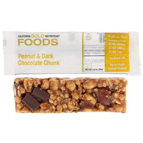 California Gold Nutrition, Gold Bar, Maní con trozos de chocolate negro, 40g (1,4oz) (Discontinued Item)