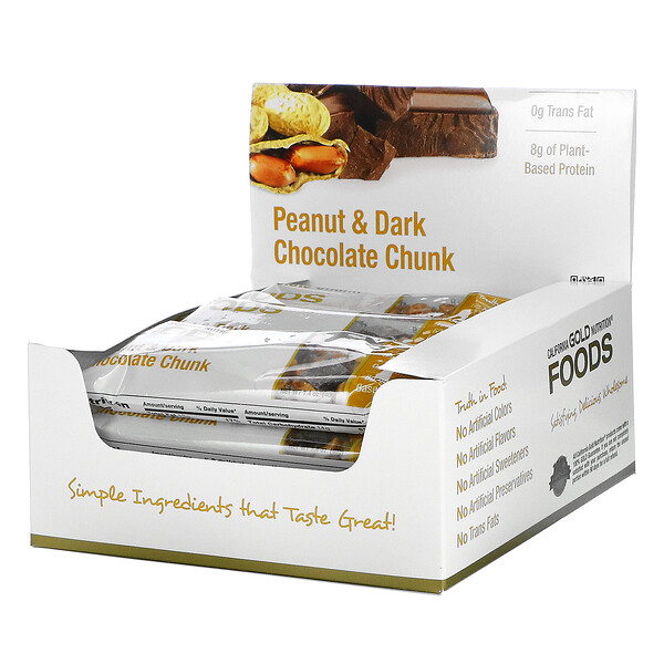Foods, Peanut & Dark Chocolate Chunk Bars, 12 Bars, 1.4 oz (40 g) Each