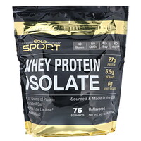 California Gold Nutrition, SPORT, 분리 유청 단백질, 무맛, 90% 단백질, 빠른 흡수, 쉬운 소화, 단일 공급원 A등급 위스콘신, 미국 유제품, 75 제공, 5 lbs (2270 g)