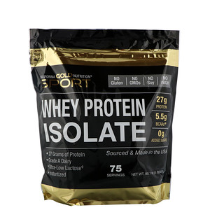 California Gold Nutrition, Whey Protein Isolate, Instantized, Ultra-Low Lactose, Unflavored, 75 Servings, 5 lb, 80.1 oz (2270 g)