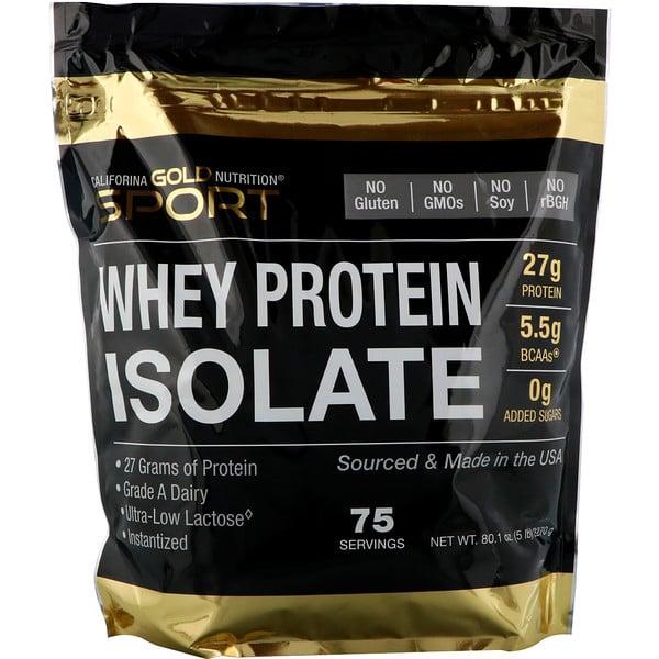 California Gold Nutrition, スポーツ、ホエイプロテインアイソレート、味付けなし、90%タンパク質、高速吸収、簡単に消化、米国ウィスコンシン州のグレードAの酪農場産原料のみ、75回分、5ポンド (2270 g)