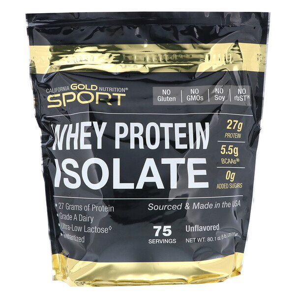 SPORT, Whey Protein Isolate, Unflavored, 90% Protein, Fast Absorption, Easy to Digest, Single Source Grade A Wisconsin, USA Dairy, 75 Servings, 5 lbs (2270 g)
