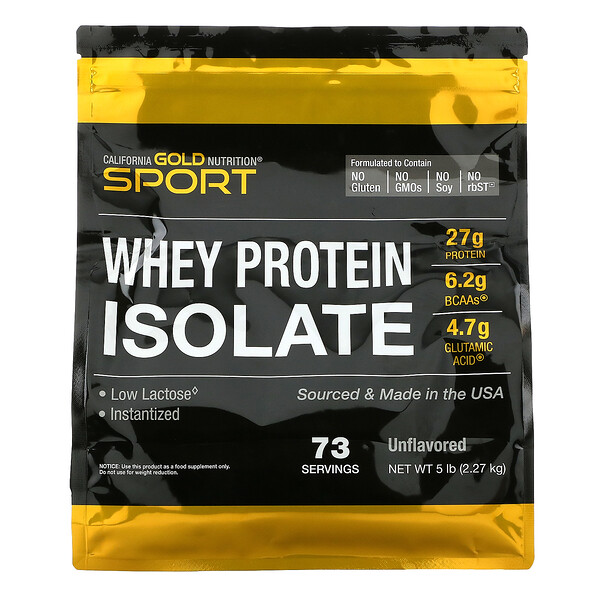 California Gold Nutrition, 100% 분리유청 단백질, 무맛, 2.27g(5lbs)