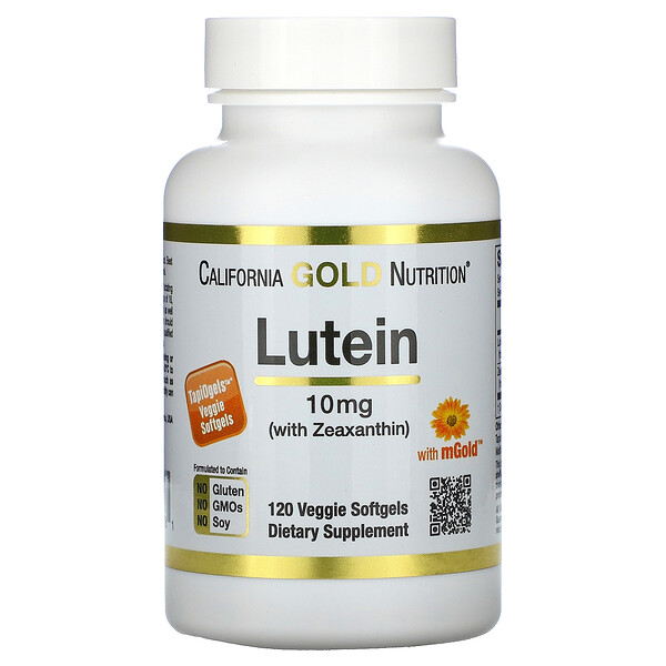 California Gold Nutrition, Lutein with Zeaxanthin, 10 mg, 120 Veggie Softgels