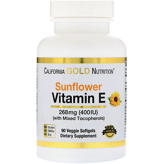 California Gold Nutrition, Vitamin E from Sunflower, Non-GMO, with Mixed Tocopherols, 400 IU, 90 Veggie Softgels