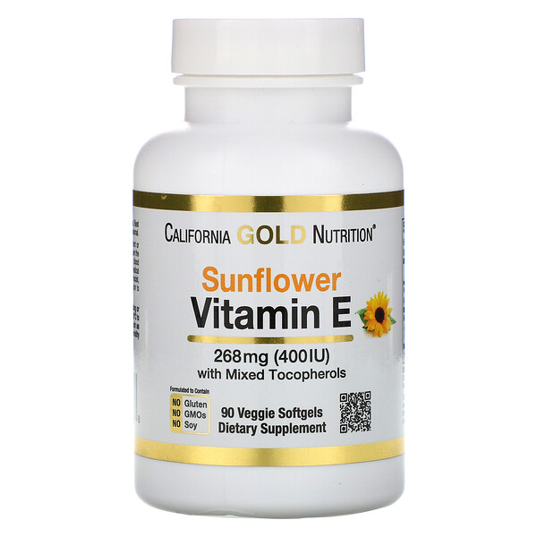 California Gold Nutrition, Sunflower Vitamin E, with Mixed Tocopherols, 400 IU, 90 Veggie Softgels
