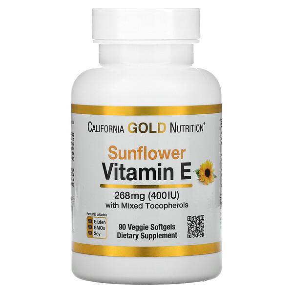 California Gold Nutrition, Sunflower Vitamin E, with Mixed Tocopherols, 400 IU, 90 Veggie Softgels