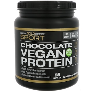 California Gold Nutrition, Chocolate Vegan Protein with Pomegranate & Acai, Pea & Brown Rice Proteins, No Soy, 17.99 oz (510 g)