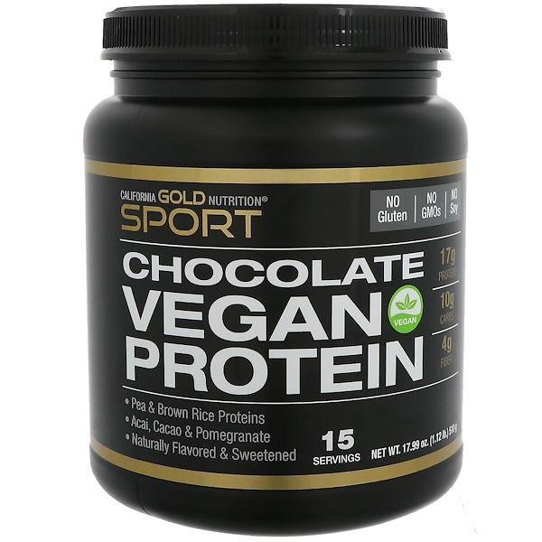 California Gold Nutrition, Vegan Protein with Pomegranate, Acai & a Hint of Chocolate, No Soy, 17.99 oz (510 g) (Discontinued Item)