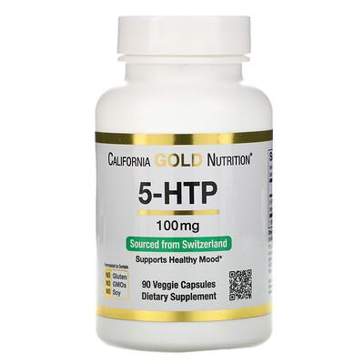 5-гидрокситриптофан, поддержка хорошего самочувствия, экстракт семян гриффонии простолистной из Швейцарии, 100 мг, 90 растительных капсул