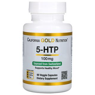 California Gold Nutrition, 5-гидрокситриптофан, поддержка хорошего настроения, экстракт семян гриффонии простолистной из Швейцарии, 100мг, 90вегетарианских капсул