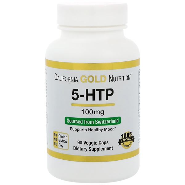 California Gold Nutrition, 5-HTP, Mood Support, Griffonia Simplicifolia Extract from Switzerland, 100 mg, 90 Veggie Caps