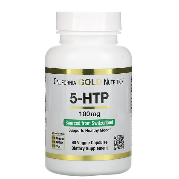 5-HTP, Suplemento para mejorar el estado de ánimo, Extracto de Griffonia simplicifolia proveniente de Suiza, 100mg, 90cápsulas vegetales
