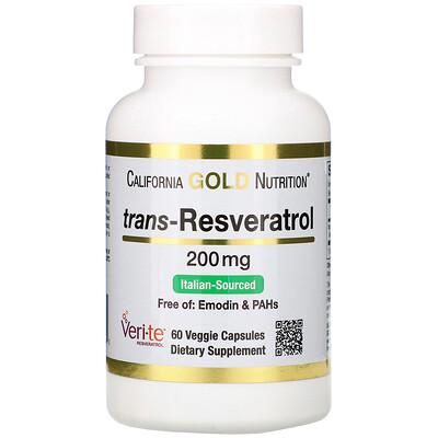 Ресвератрол, 98% транс-ресвератрол, 200 мг, 60 растительных капсул