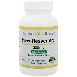 California Gold Nutrition, Trans-Resveratrol, 98% Pure, 200 mg, 60 Veggie Caps