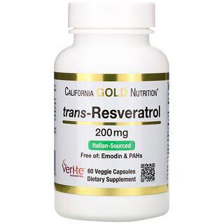 California Gold Nutrition, 反式白藜蘆醇,98% 純度,200 毫克,60 粒素食膠囊