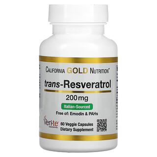 California Gold Nutrition, Trans-Resveratrol, Italian Sourced, 200 mg, 60 Veggie Capsules