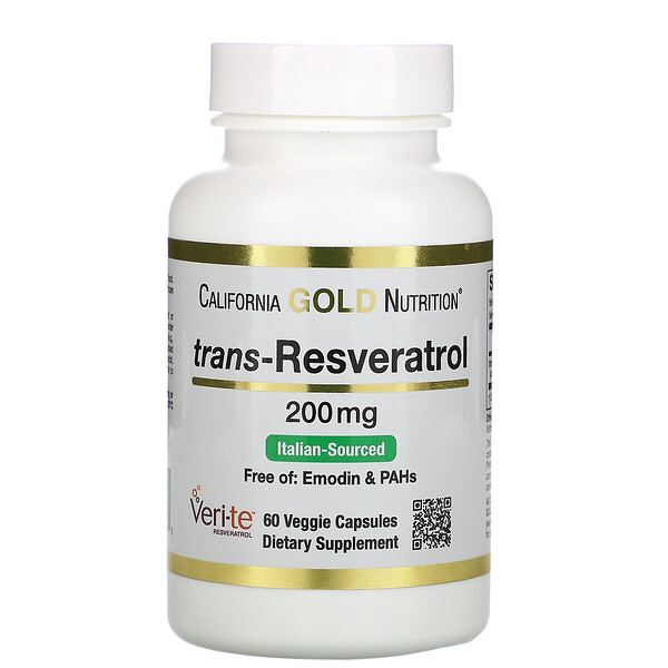 California Gold Nutrition, Trans-Resveratrol, Italian Sourced, 200 mg, 60 Veggie Capsules