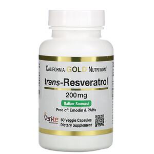 California Gold Nutrition, Trans-Resveratrol, Italian Sourced, 200 mg, 60 Veggie Capsules отзывы покупателей