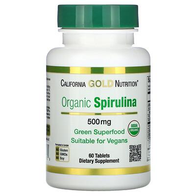 California Gold Nutrition органическая спирулина, сертификат USDA Organic, 500мг, 60таблеток