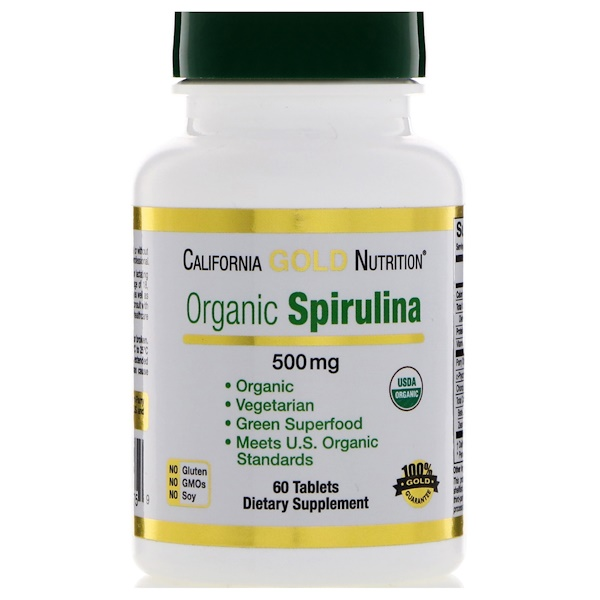 California Gold Nutrition, Spirulina, USDA Certified Organic, Vegetarian, 500 mg, 60 Tablets