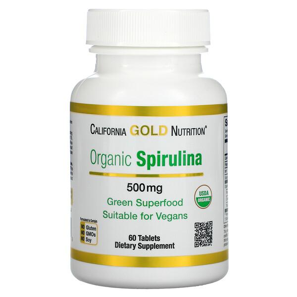 Espirulina orgánica, Producto orgánico certificado por el USDA, 500mg, 60comprimidos