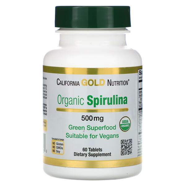 Organic Spirulina, USDA Certified, 500 mg, 60 Tablets