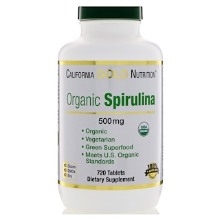 California Gold Nutrition, Espirulina, Certificación orgánica USDA, Vegetariana, 500 mg, 720 Tabletas
