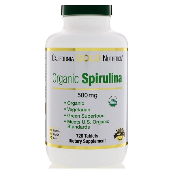 California Gold Nutrition, Organic Spirulina, USDA Certified, 500 mg, 720 Tablets