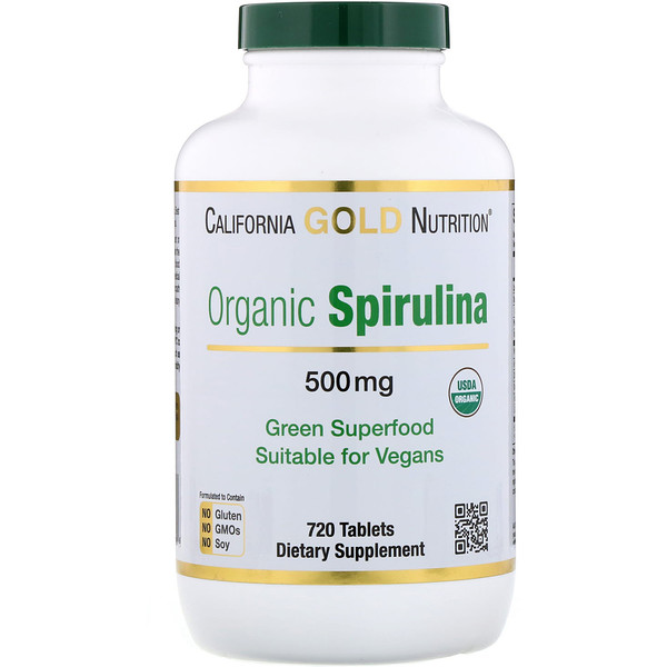 California Gold Nutrition, Espirulina orgánica, certificada por el USDA, 500 mg, 720 tabletas