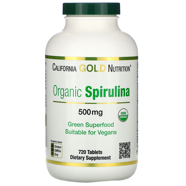 California Gold Nutrition, Organic Spirulina, USDA Certified, Bio-Spirulina, 500 mg, 720 Tabletten