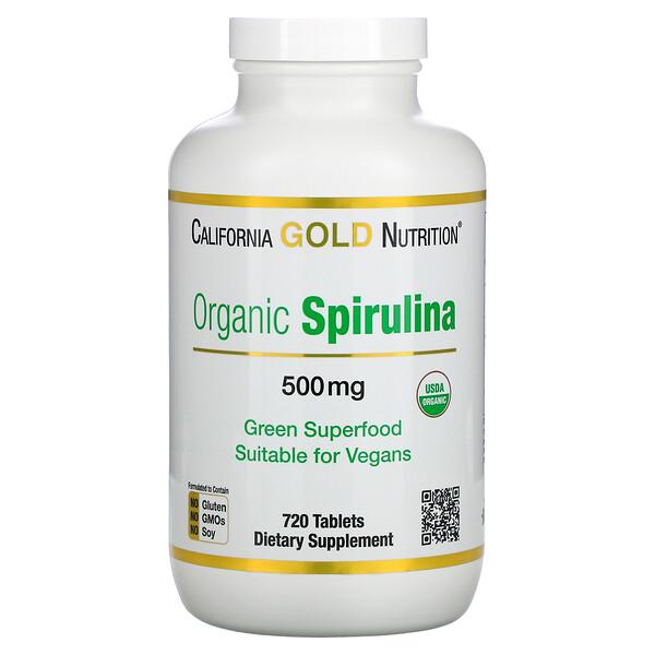 سبيرولينا عضوية، معتمد كمنتج عضوي من وزارة الزراعة الأمريكية، 500 ملجم، 720 قرصًا