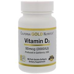 California Gold Nutrition, 비타민 D-3, 50 mcg (2000 IU), 90 피시 젤라틴 소프트 젤