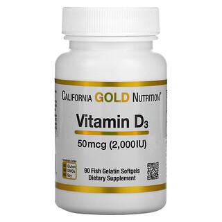 California Gold Nutrition, فيتامين د3، 50 مكجم (2,000 وحدة دولية)، 90 كبسولة هلامية من جيلاتين السمك