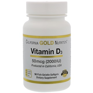 California Gold Nutrition, Vitamin D-3, 50 mcg (2000 IU), 90 Fish Gelatin Softgels