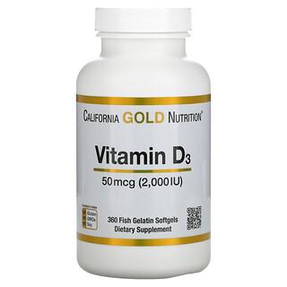 California Gold Nutrition, 维生素 D3,50 微克(2,000 国际单位),360 粒鱼明胶软凝胶