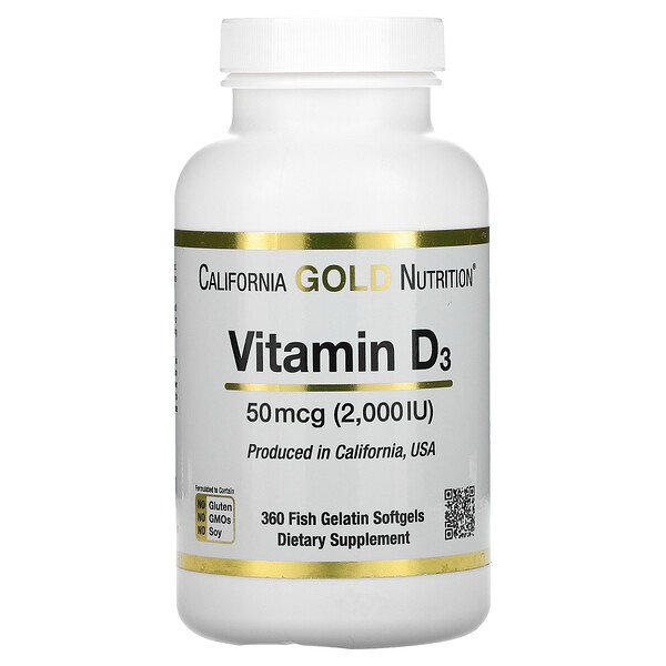 Vitamin D3, 50 mcg (2,000 IU), 360 Fish Gelatin Softgels