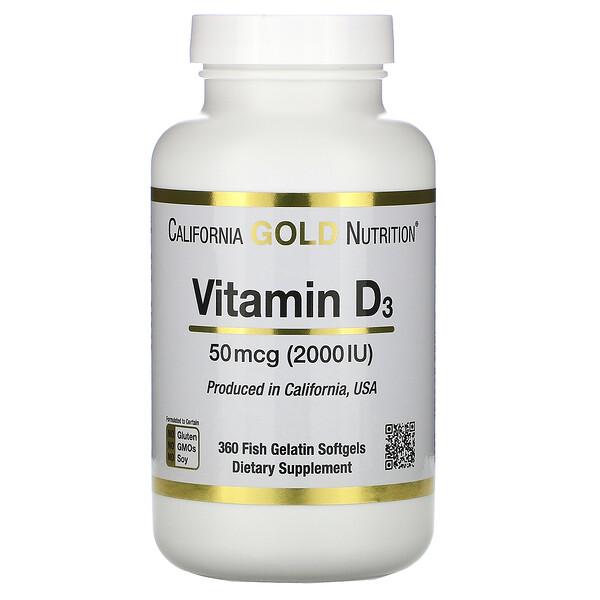 فيتامين د3، 50 مكجم (2000 وحدة دولية)، 360 كبسولة هلامية جيلاتينية سمكية