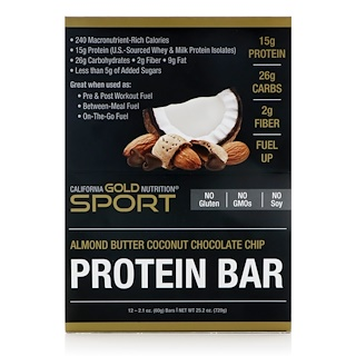 California Gold Nutrition, Protein Bar, Almond Butter Coconut Chocolate Chip, 12 Bars, 2.1 oz (60 g) Each