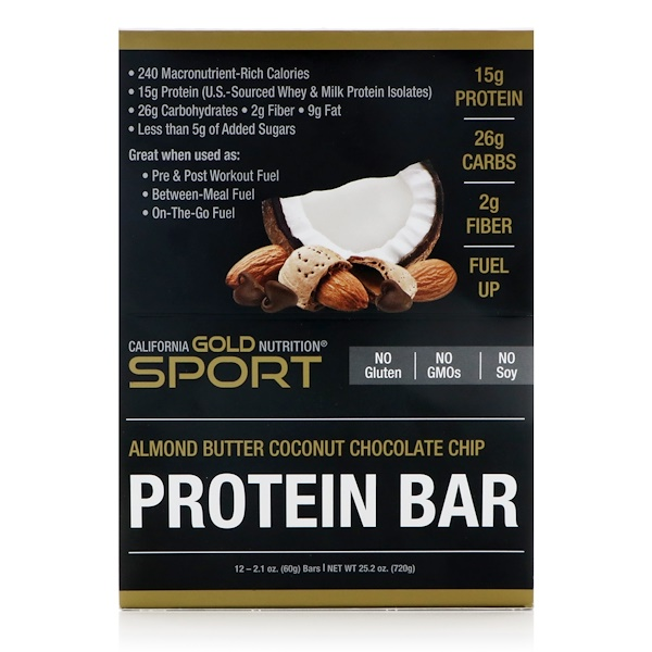 California Gold Nutrition, Protein Bar, Almond Butter Coconut Chocolate Chip, 12 Bars, 2.1 oz (60 g) Each (Discontinued Item)