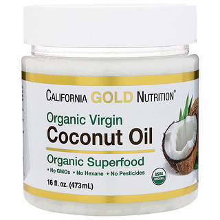 California Gold Nutrition, Organic Virgin Coconut Oil, Superfood, Cold Pressed, Unrefined, 16 fl oz (473 ml)