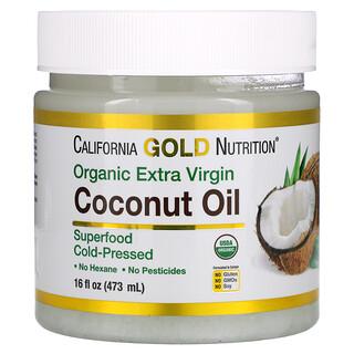 California Gold Nutrition, Organic Extra Virgin Coconut Oil, Unrefined, Cold-Pressed, 16 fl oz (473 ml)