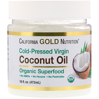 California Gold Nutrition, Cold-Pressed Virgin Coconut Oil, Superfood, Unrefined, 16 fl oz (473 ml)