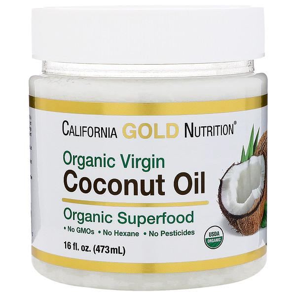 California Gold Nutrition, オーガニック・ヴァージンココナッツオイル、スーパーフード、コールドプレス、未精製、16液量オンス (473 ml)