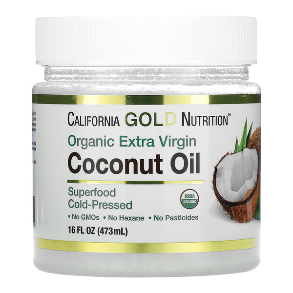 California Gold Nutrition, Organic Extra Virgin Coconut Oil, Unrefined, Cold-Pressed, 16 fl oz (473 ml)