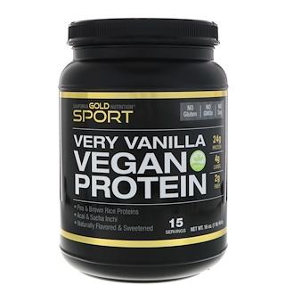 California Gold Nutrition, Proteína Vegana de Ervilha e Arroz Integral, Sabor Vanilla, Sem Soja, Sem OGMs 16 oz (454 g)