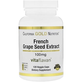California Gold Nutrition, French Grape Seed Extract, 100 mg, Antioxidant Polyphenol, 120 Veggie Caps