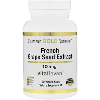 California Gold Nutrition, French Grape Seed Extract, VitaFlavan, Antioxidant Polyphenol, 100 mg, 120 Veggie Caps