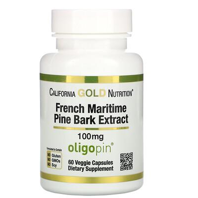 Купить California Gold Nutrition Oligopin, экстракт коры французской приморской сосны, полифенольный антиоксидант, 100мг, 60растительных капсул