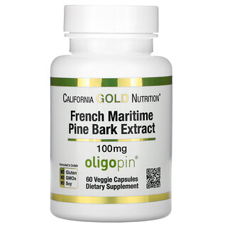 California Gold Nutrition, French Maritime Pine Bark Extract, Oligopin, 100 mg, 60 Veggie Capsules